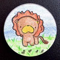 Hand Drawn Buttons - Lion by gippentarp