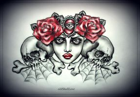 tattoo design by oldSkullLovebyMW