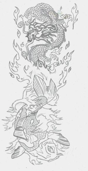 Most men opt for tribal koi tattoos on their shoulders, back, calves,