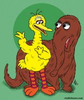Big Bird and Snuffleupagus by StudioBueno