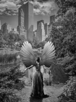 Angel of Central Park Black and White by bentolosa