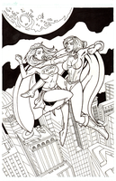 Supergirl Vs Powergirl- Final Inked by karcreat