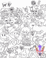 [Cubicle Drawing 09] - Paper Mario Picnic by DragoonMyuutsu