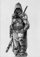 Warrior in hood by OFFO