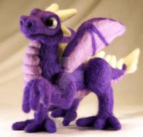 Purple Needle Felted Dragon II by The-GoblinQueen