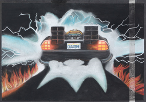 Back to the Future Chalk Art by xWolfie36x