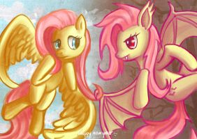 Fluttershy And Flutterbat by seer45