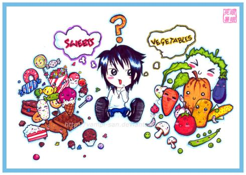 sweets V.S vegetables by VaMpI-SaN
