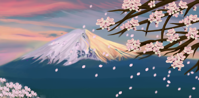 mt fuji and cherry blossoms by brickelle