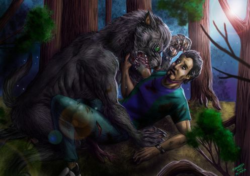 Commission - Attacked by a werewolf by FuriarossaAndMimma