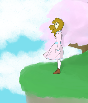 Anime Girl Standing on a Cliff by Kat515