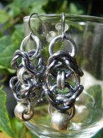 byzantine earrings with silver bead by BacktoEarthCreations