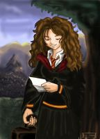 Hermione is reading a letter by Yamatoking