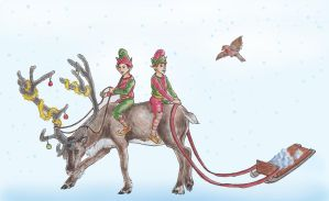 Reindeer Ride by crittercat