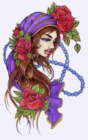 gypsie with roses by Pallat