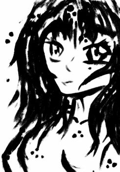 Looking Girl Black and White by MangaRINer