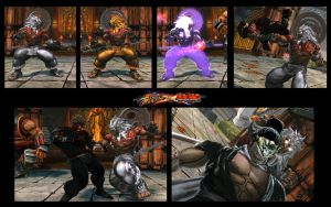 SF X TEKKEN Akuma as Augus from Asura's  Wrath by monkeygigabuster