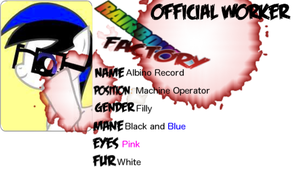 Rainbow Factory ID card for Albino Record by CrazyHuskyArchie