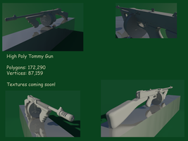 High Poly Tommy Gun Model by Rubber-Rainbows