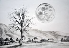 The Tree and the Moon WIP 4 by SimonVelazquezArt