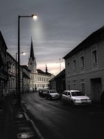 Street in Koszeg after sunset by 2ga