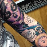 Day of the dead girl pocket watch by Craig Holmes by CraigHolmesTattoo