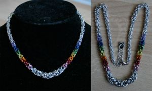 Silver and Rainbow Graduated Byzantine Necklace - by Ichi-Black