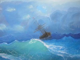 Ship in the stormy sea by halupka