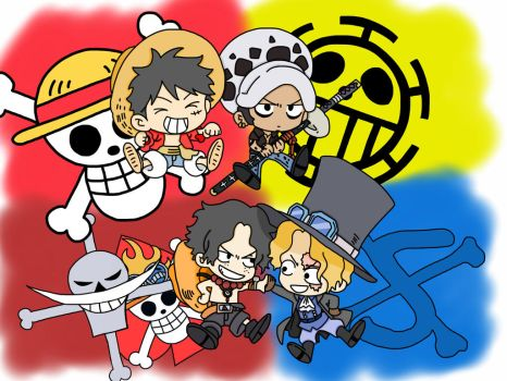 One Piece: Ace, Sabo, Luffy, Law by Acedragon2000
