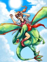 Flygon in the sky by michellescribbles