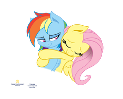 Fluttershy hugs Dashie by Derpwave