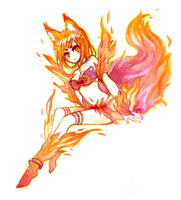 Fiery Kitsune by Meoon