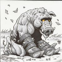 Gruagach, the pig guy from Hellboy by Steevcomix