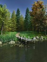 Secret Lake Premade Background by Roys-Art