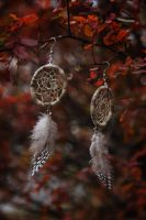 Cuckoo-dreamcatcher earrings. by hidokei-yuta