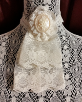 Ivory and Pearl Lace Jabot Choker by MorganCrone