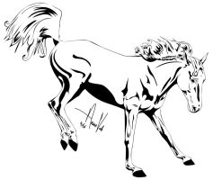 Horse Outline -- Two by Anaeo-vale
