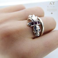 Space Pirate 01- gothic skull silver ring by tivodar66
