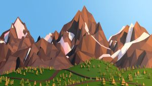 3D low-poly mountain by cepsky