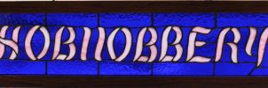 Hobnobbery Sign Stained Glass by CarolynYM