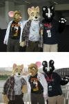fursuit trio double shot by Rennon-the-Shaved