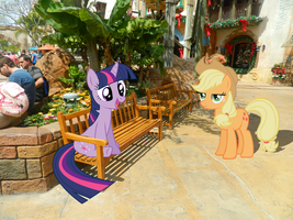 Twilight and Applejack at Universal Studios by Blackrhinoranger