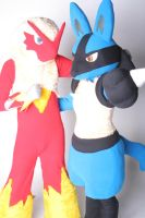 Blaziken and Lucario by scatnix