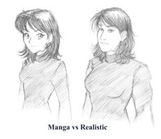 Manga vs Realistic by Madda-Sketches