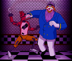 Commission Foxy vs Captain Clown by BennytheBeast