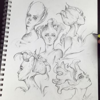 Vonn Sketch 6.13.16 - Flower Busts by Tvonn9