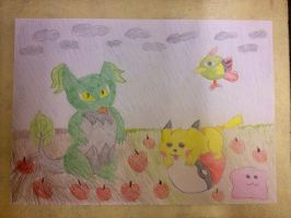 Pikachu Friends with Fakemon by extraphotos