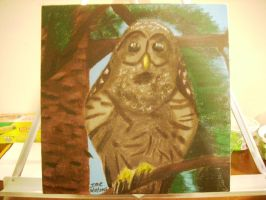Barred Owl acrylic canvas painting by dragontamer272