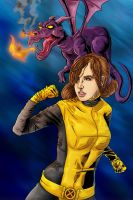Kitty Pryde w/ Lockheed by MarcOuellette