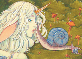 Lilith and the Snails ACEO by Anoki-Doll